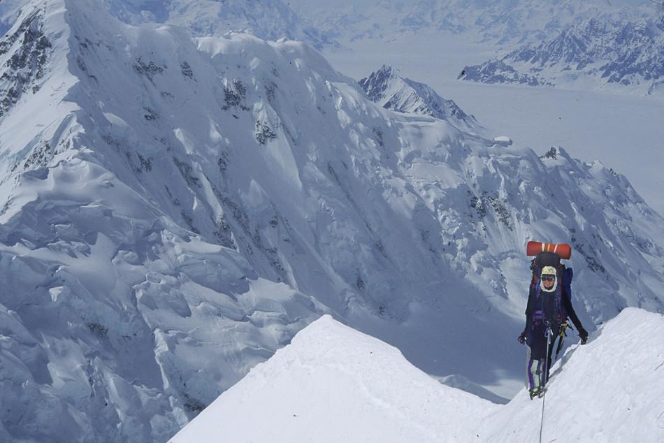 Getting mileage on Mount Logan's East Ridge. Helen climbed the ridge in alpine style (five days) with Karl Nagy. Photo by Karl Nagy, 1994.