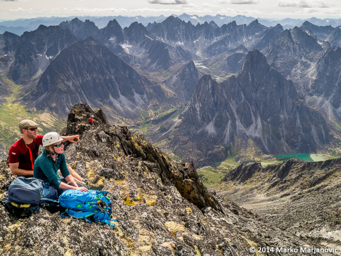 The ACC Yukon group, climbing high on a ridge below the Wolf's Fang.