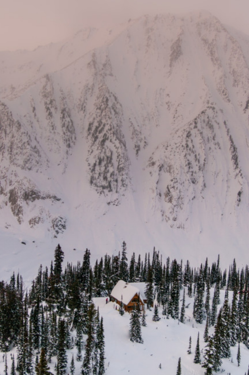 Fairy Meadow Hut at dusk, seen from the top of the little headwall.