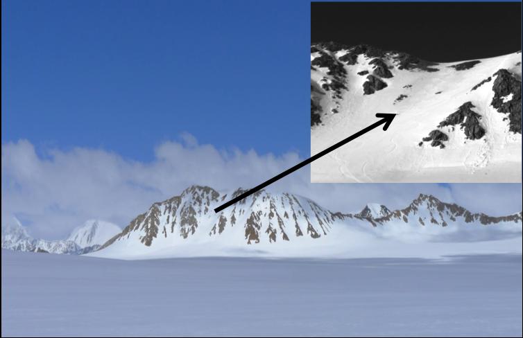 Ski tracks (inset) on the ridge north of camp.