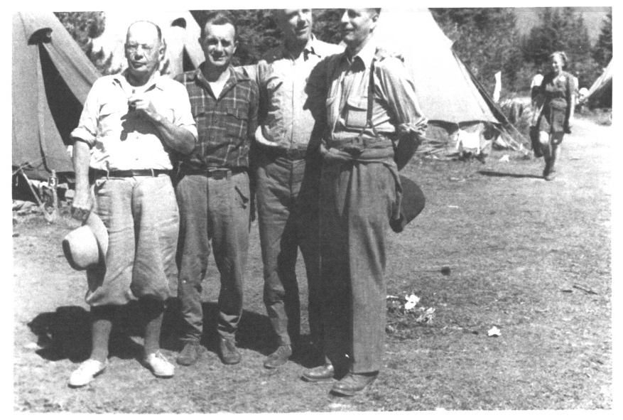 The style of the day. 1946 Bugaboo Creek General Mountaineering Camp. Photo by Ted Mills.