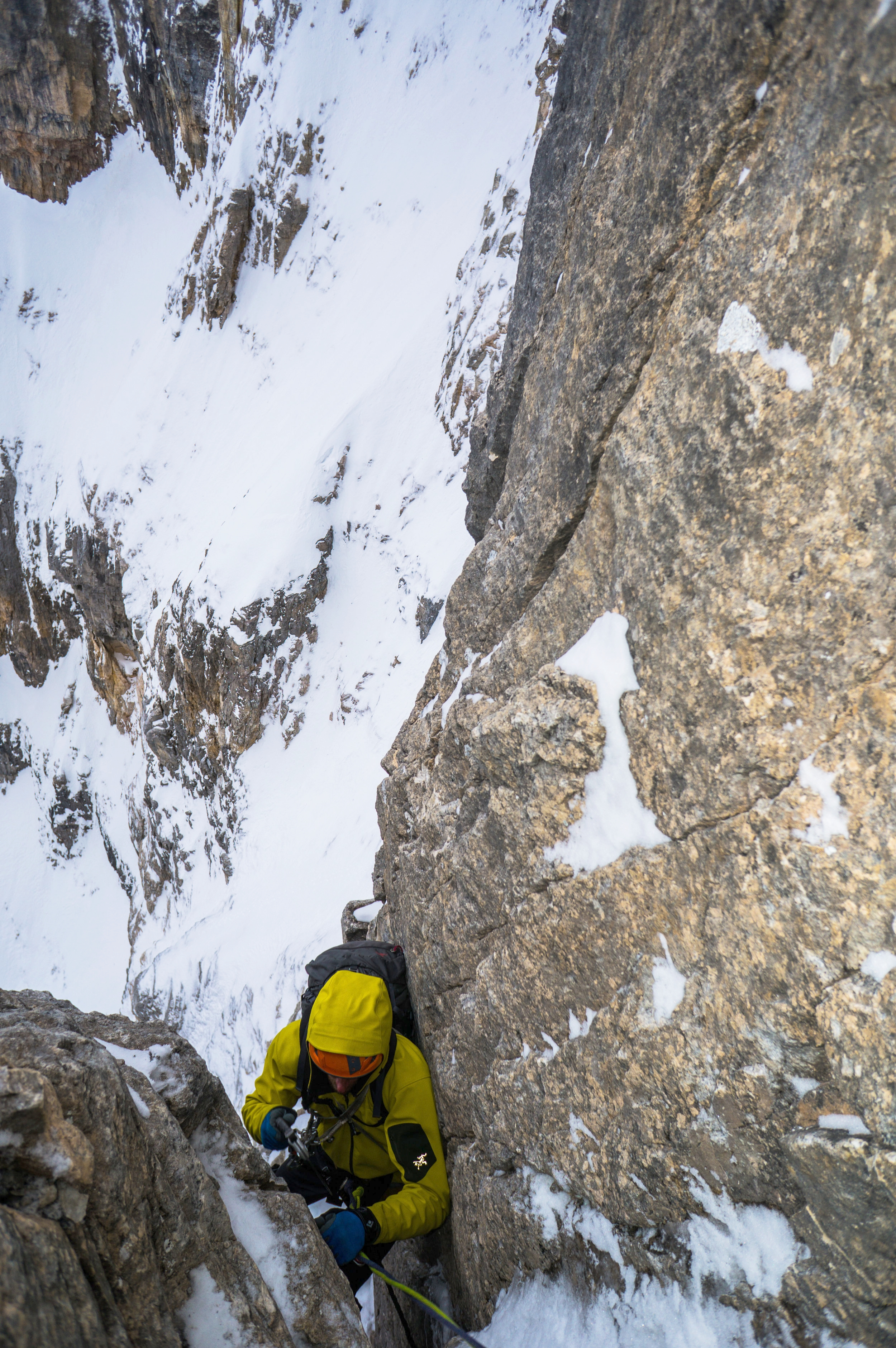 Jay Mills follows a pitch high on Mt. Tuzo. Photo Ian Welsted.