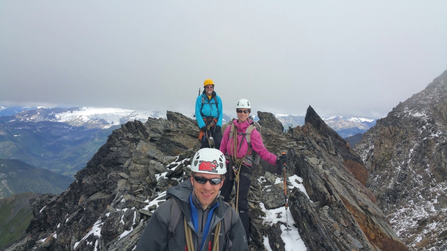 Happy mountain climbers. Photo by Cam Roe.