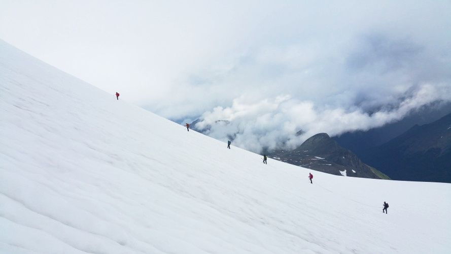 Glacier work. Photo by Cam Roe.