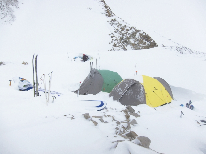 Day 19 of 30: Our high camp at 4900m during a four day storm.