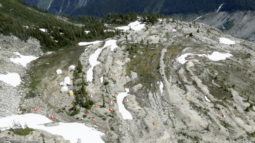 Looking down on basecamp.