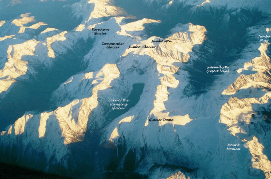 Scope of the project, showing the four glaciers and proposed resort base site. Source: Jumbo Glacier Resort master plan.
