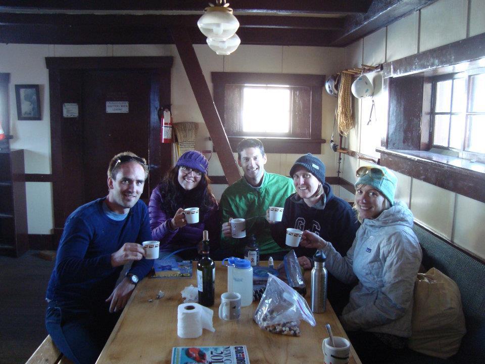 Manny, Carolina, Alex, Caitlin and Jody toast the engagement.