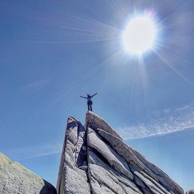 Hannah on the summit of Guillamet. Photo by Michelle Kadatz.