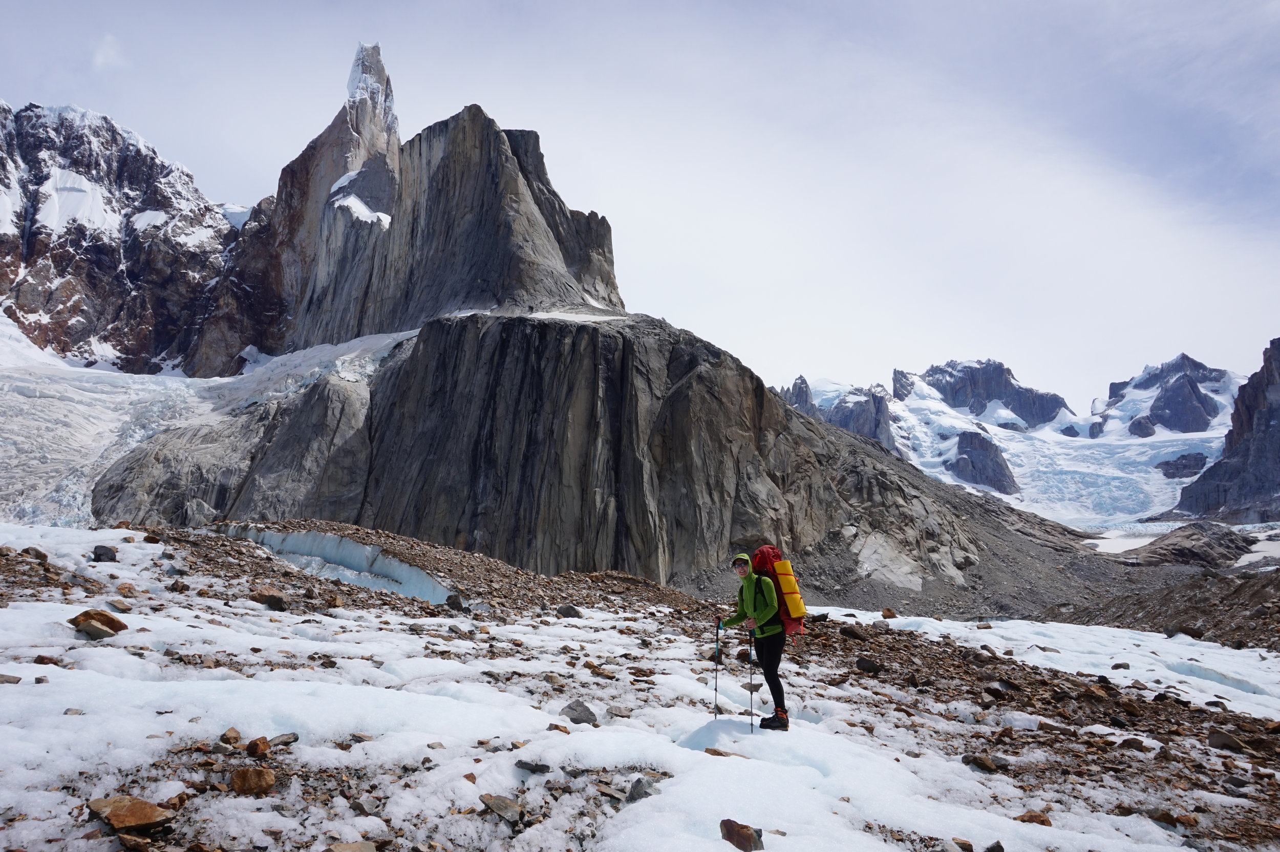 Enjoyable views, staring at the East Face of Cerro Torre from Niponino base camp. Photo by Hannah Preston.