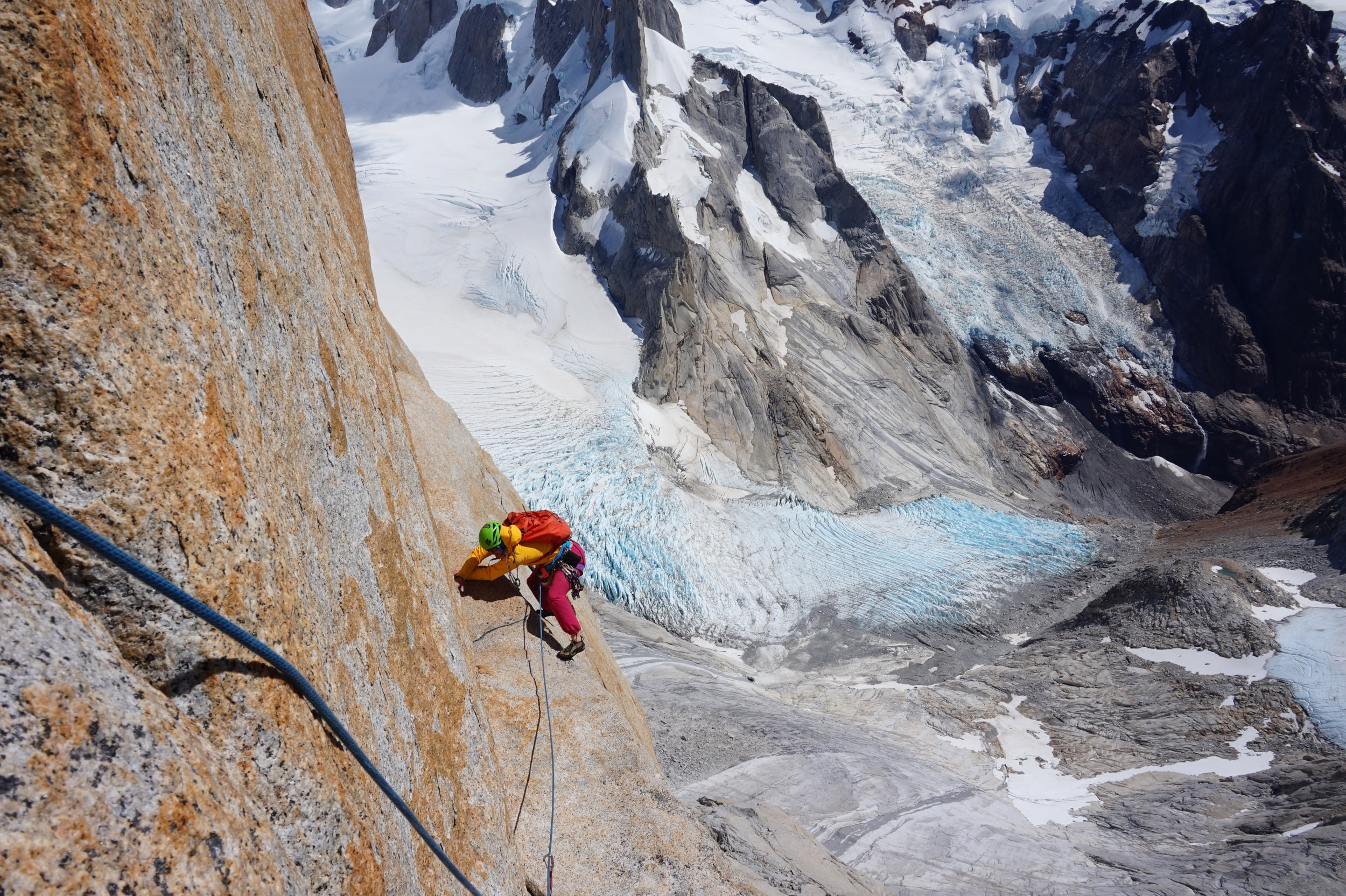 Michelle on the Fonrouge traverse. Photo by Hannah Preston.