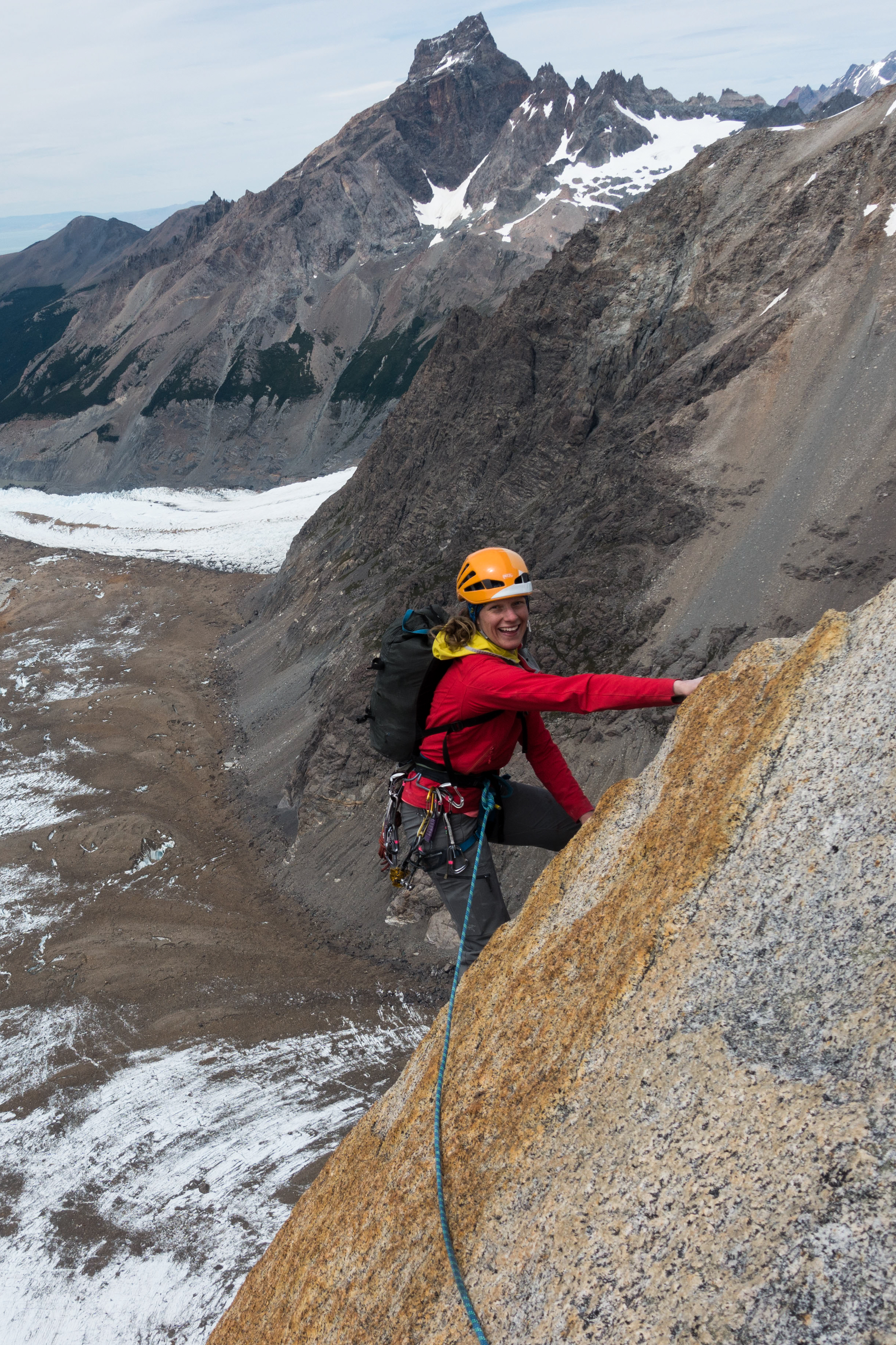 Hannah psyched on Voie Des Benitiers 12b, El Mocho. Our first climb in Patagonia! Photo by Michelle Kadatz.