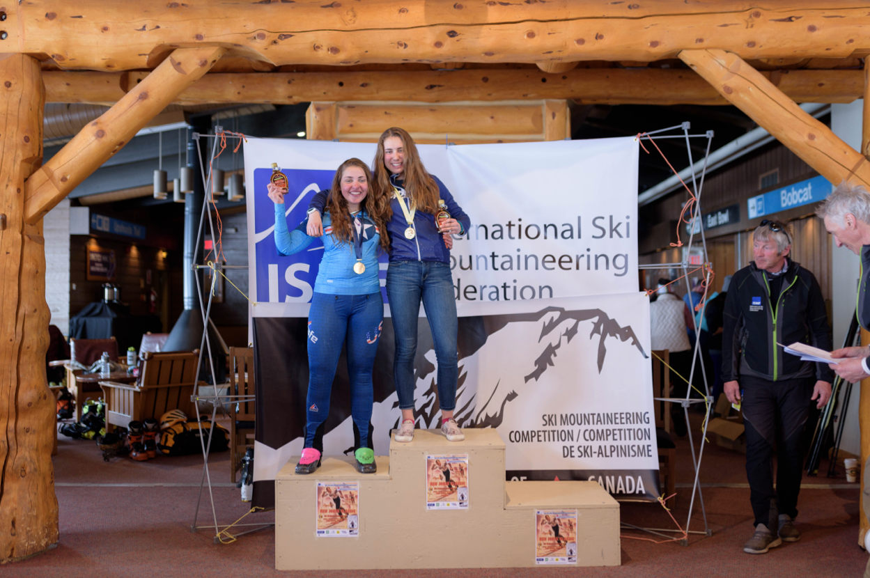 Ema Chlepkova of Calgary (top step) and Morgan Fortin of Colorado take gold and silver in the Cadet Female category. Future Olympians? Photo by Casey Marshall.