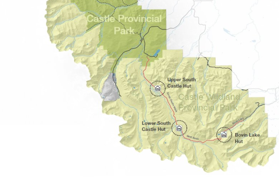 Three new huts will allow hut to hut hiking and skiing in Castle Wildland Provincial Park.