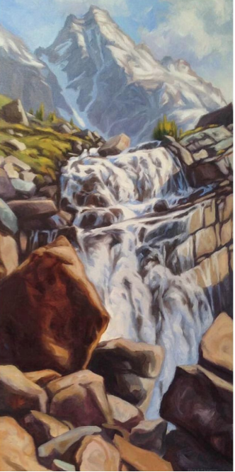 """Victoria Falls: Oil on canvas, 30"""" x 15"""" by Patti Dyment. [framed].  Retail: $900. Bidding starts at $450."""