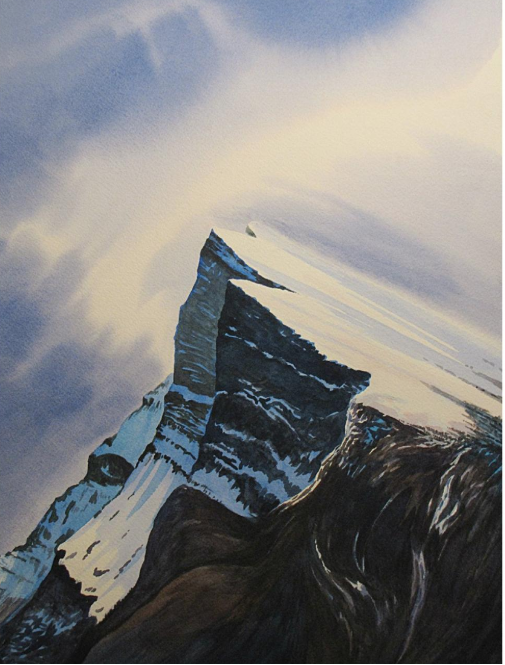 """Mt. Rundle watercolour print 16"""" x 15"""" (framed) by Roy Millar. Retail $400. Bidding starts at $200."""