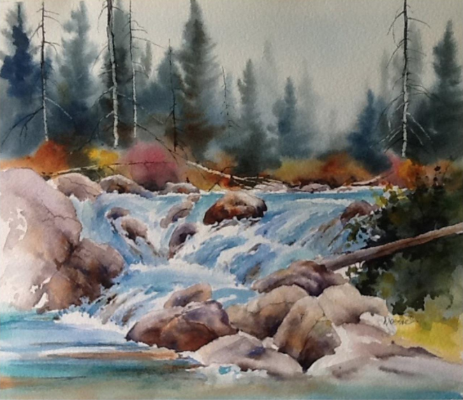 """Falls on the Stream: Original watercolour, 15"""" x 17"""" [framed] by Donna Jo Massie.  Retail: $450. Bidding starts at $225."""