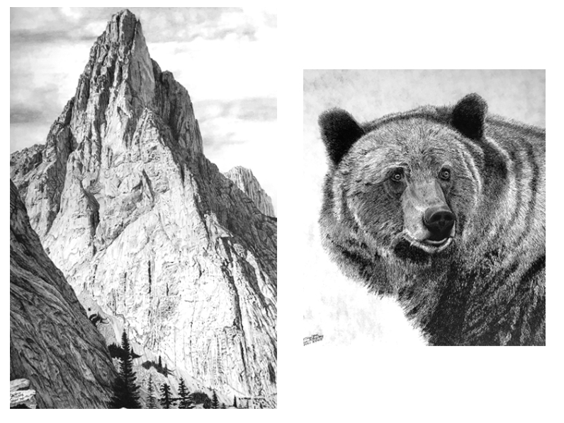 Mt. Louis (left) and Grizzly Bear prints by Glen Boles. Retail $250 (Mt. Louis), $200 (Grizzly). Bidding starts at $125 (Mt. Louis), $100 (Grizzly).