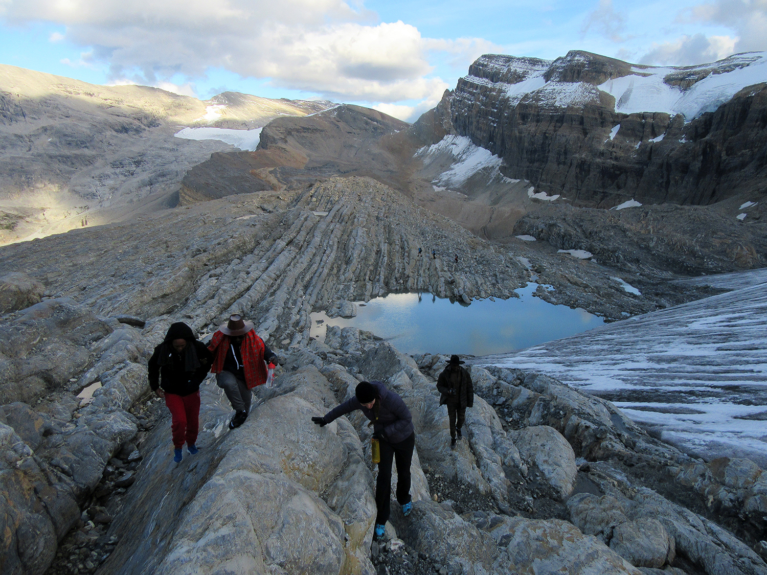 Hiking up beside the Bow Glacier to try to catch views of the Wapta Icefield at sunset.