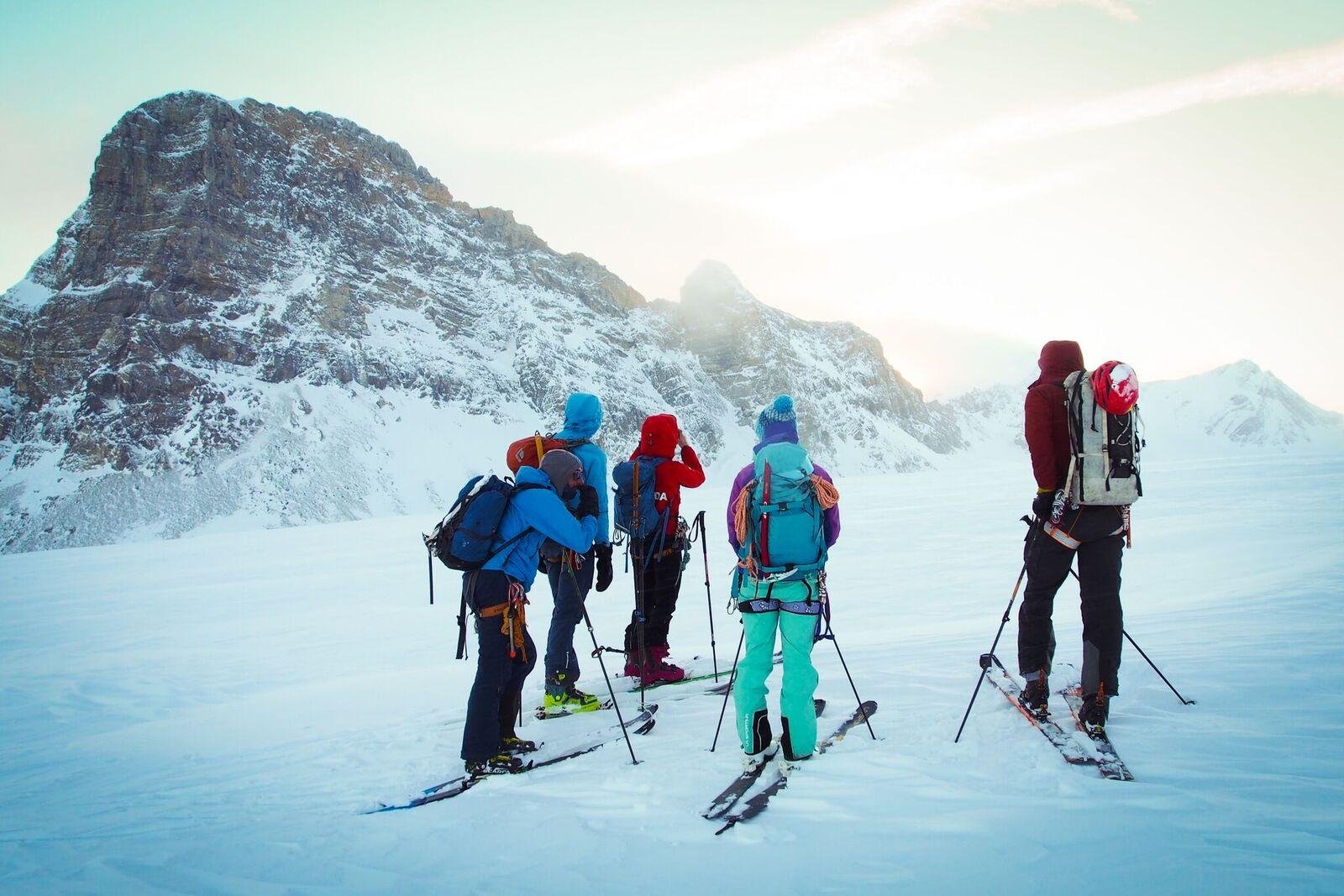 National Ski Mountaineering Team Members deciding which peak to ski up first. Photo: Matt Reid