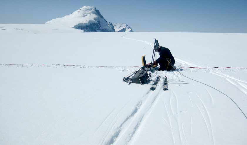 Author working on the plateau of the Columbia Icefield
