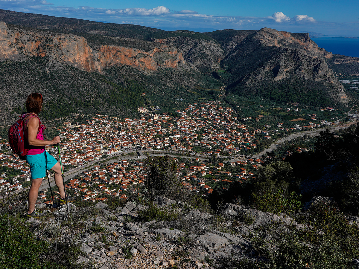 "Nancy overlooks the town of Leonidio from the 'Merohoro-Profitis Helias"" hike. Photo by Ralf Dujmovits."