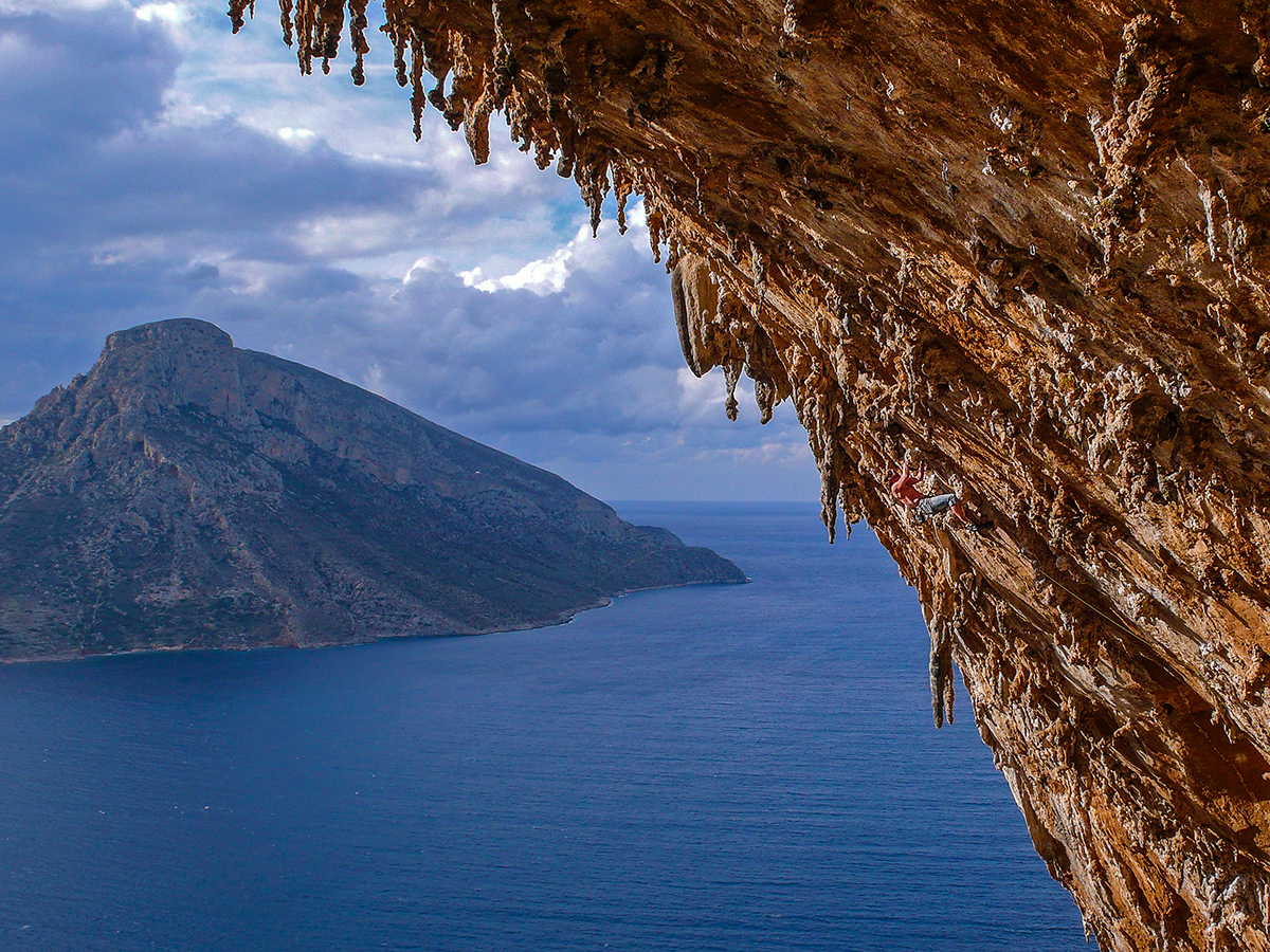 Spot the climber! 'Grande Grotta' sector, Kalymnos. Photo by Ralf Dujmvoits.