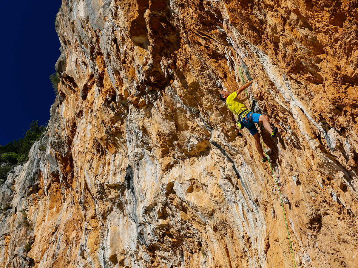 Ralf climbing 'Zeus' at Leonidio. Photo by Nancy Hansen.
