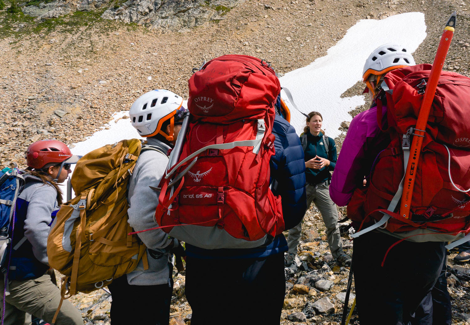 Natalie Stafl, of Parks Canada, tells the girls all about pikas and the extensive research that she has done.