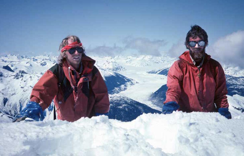 Brian Sheffield and John on the summit of Klinaklini Pk, Klinaklini Glacier behind, 1982. Photo Graham Underhill