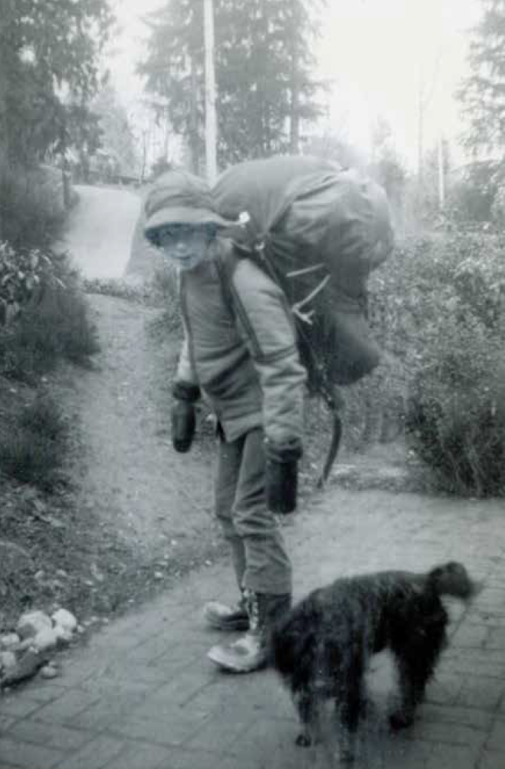 John headed off on one of his early overnight trips with the Boy Scouts. His dog Oscar is seeing him off.