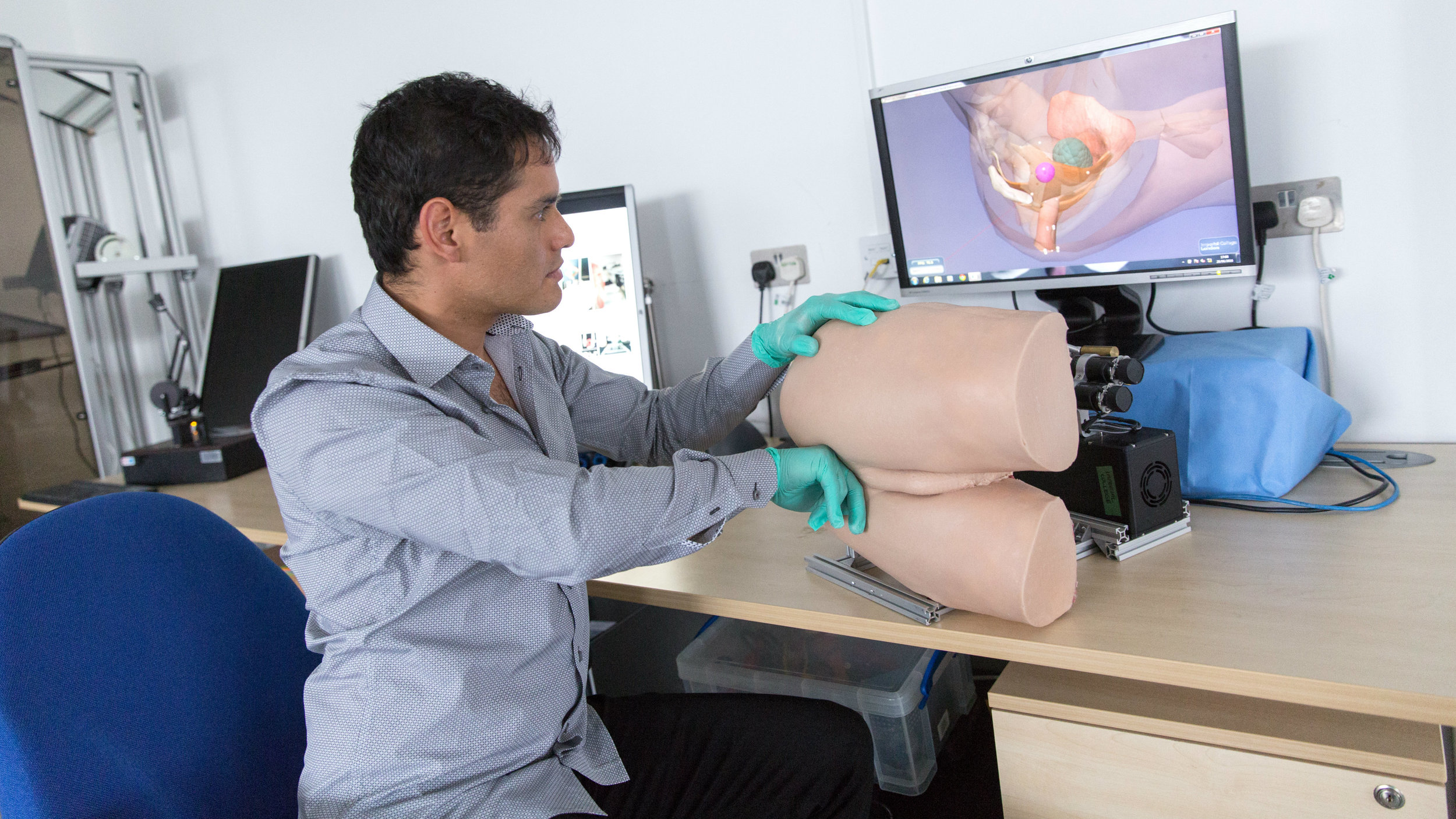 Dr Alejandro Granados from Imperial College London demonstrates the robotic rectum technology,.jpg