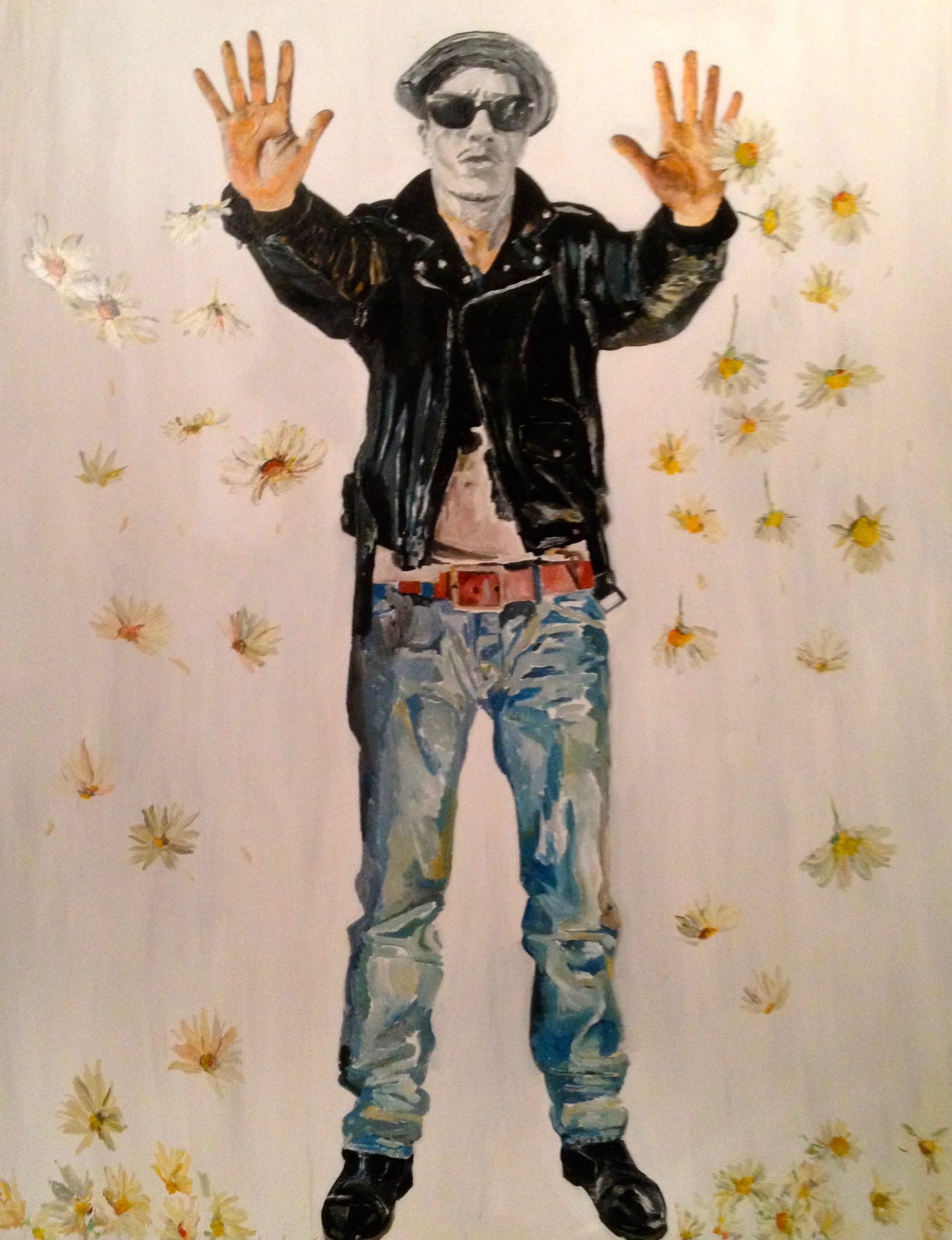 """"""" L'Homme qui pleurait des fleurs """" Peinture acrylique, sur toile 195 x 116 cm"""