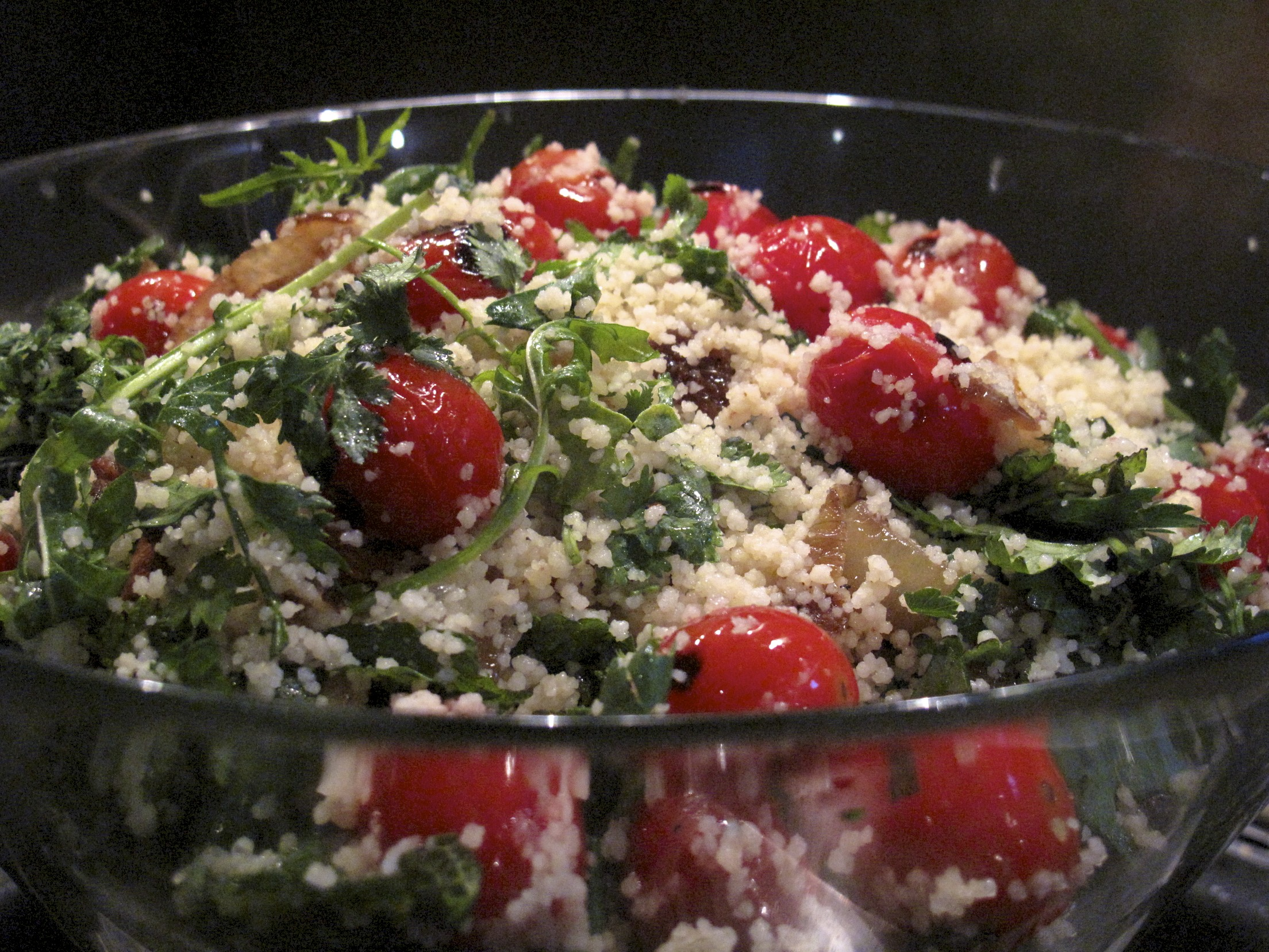 Cous cous salad, roast tomatoes, onion jam, sultanas, preserved lemon and fresh herbs.jpg