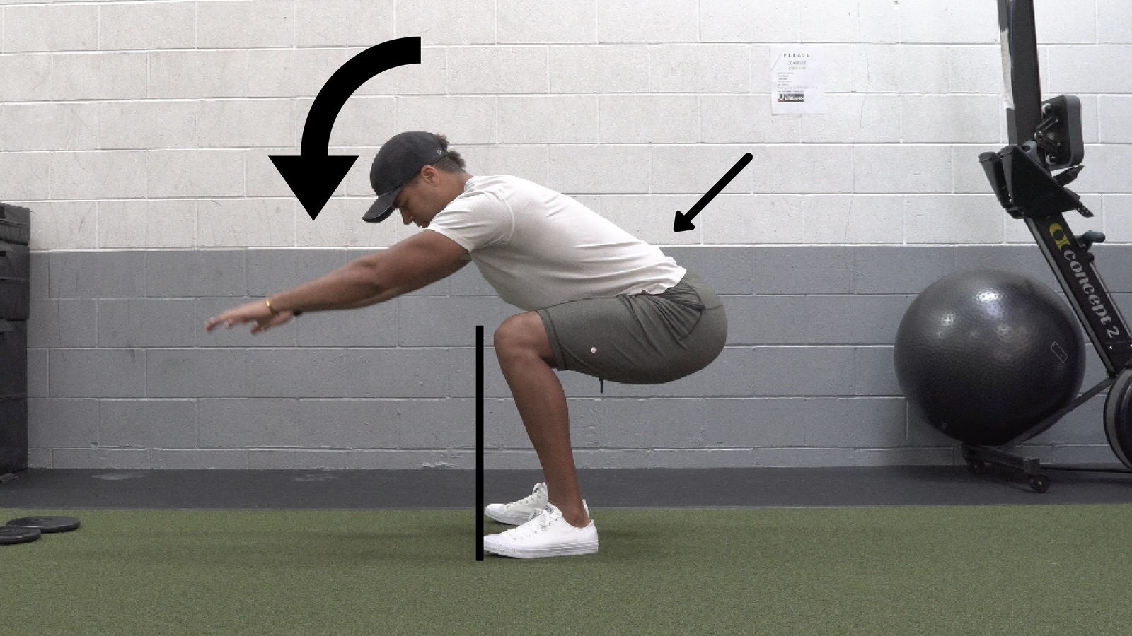 Torso Collapsing forward, Lower back under stress, Knees behind toes.