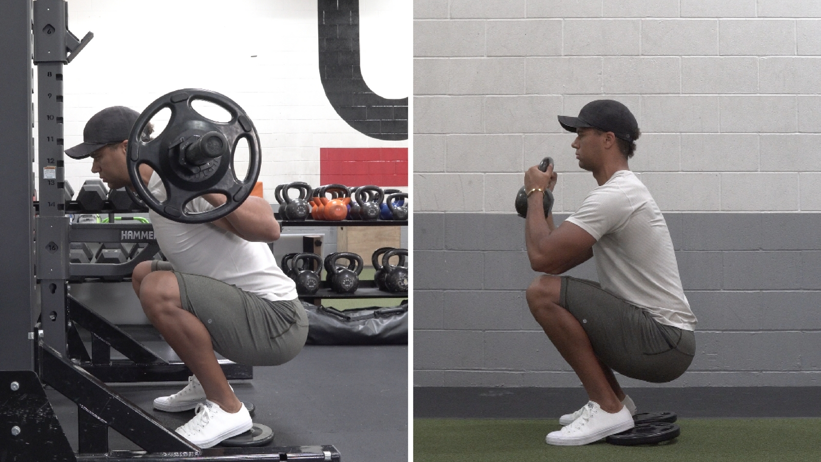 Left: Back Squat Slight Forward Lean Right: Goblet Squat More Up Right