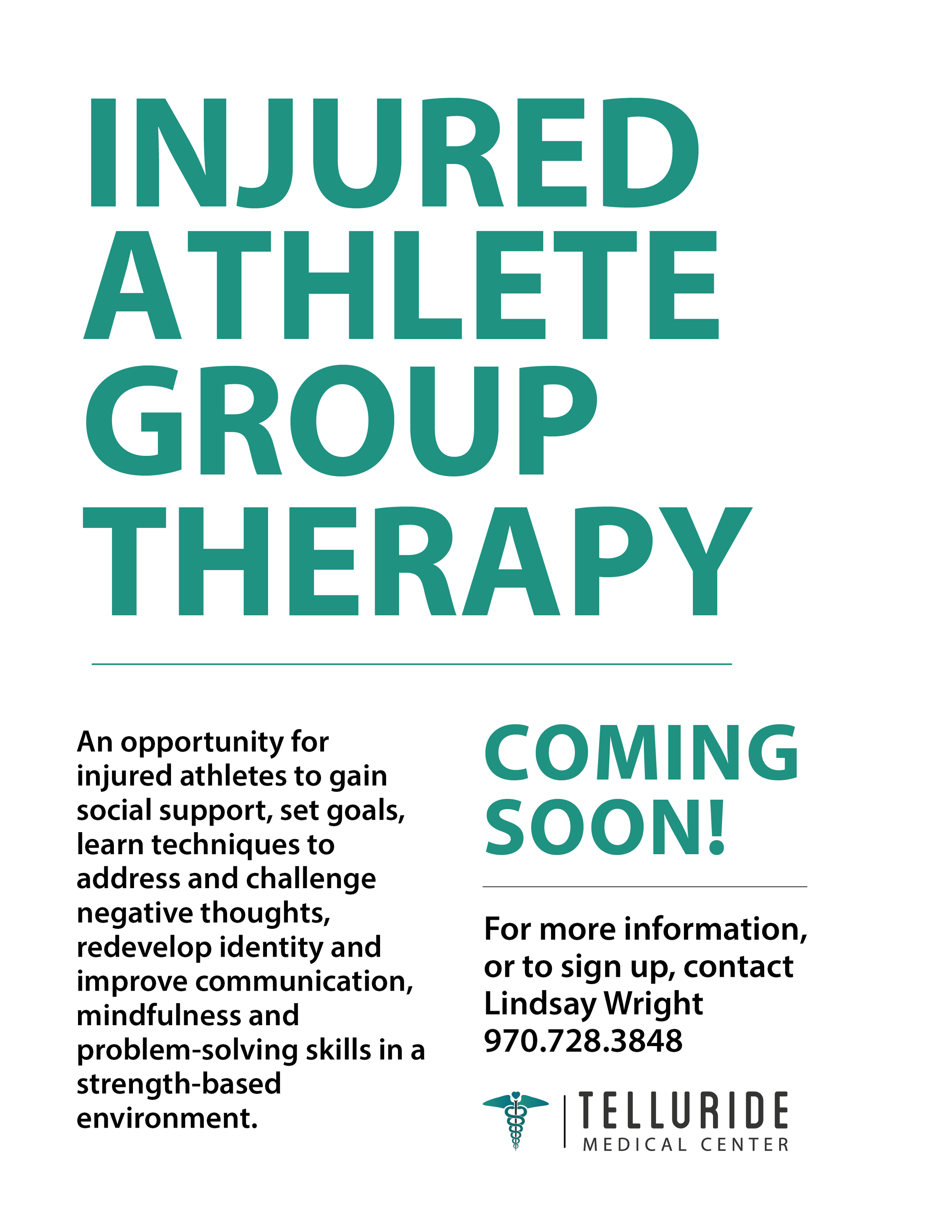 Injured Athlete Support Group Therapy Telluride