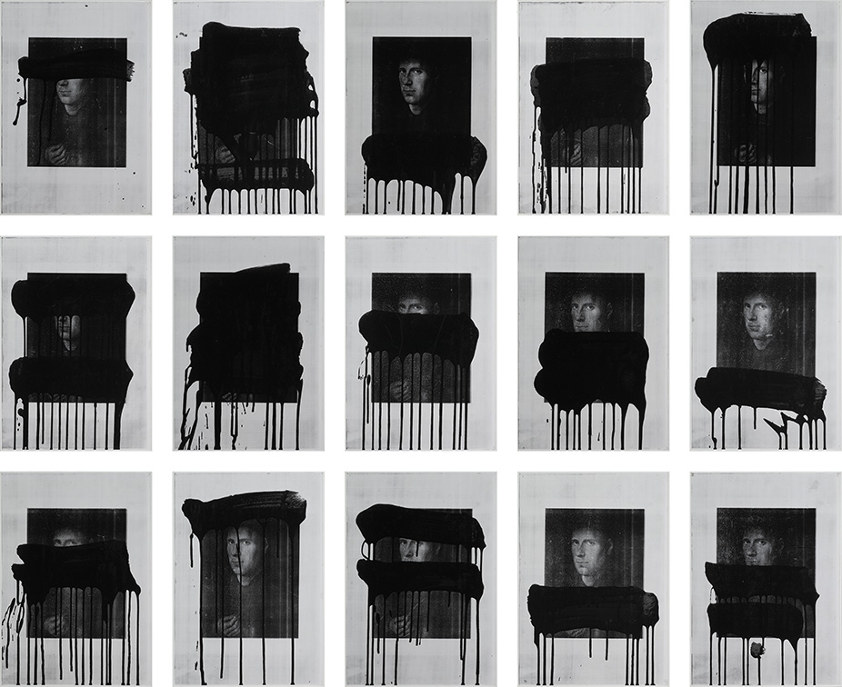 UNTITLED (AFTER JAN VAN EYCK)  1988 Photocopy and synthetic polymer paint on Stonehenge paper on foamcore 15 parts, each sheet 42.0 x 29.7 cm overall 146.0 x 183.5 cm