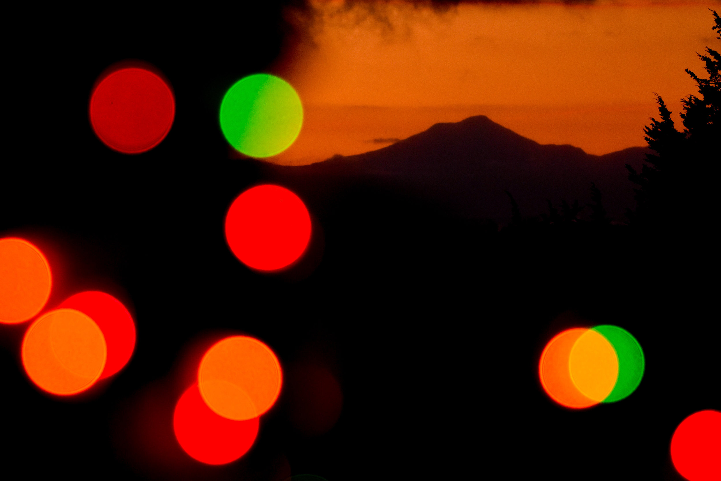 Camel's Hump with Christmas Lights at Sunrise