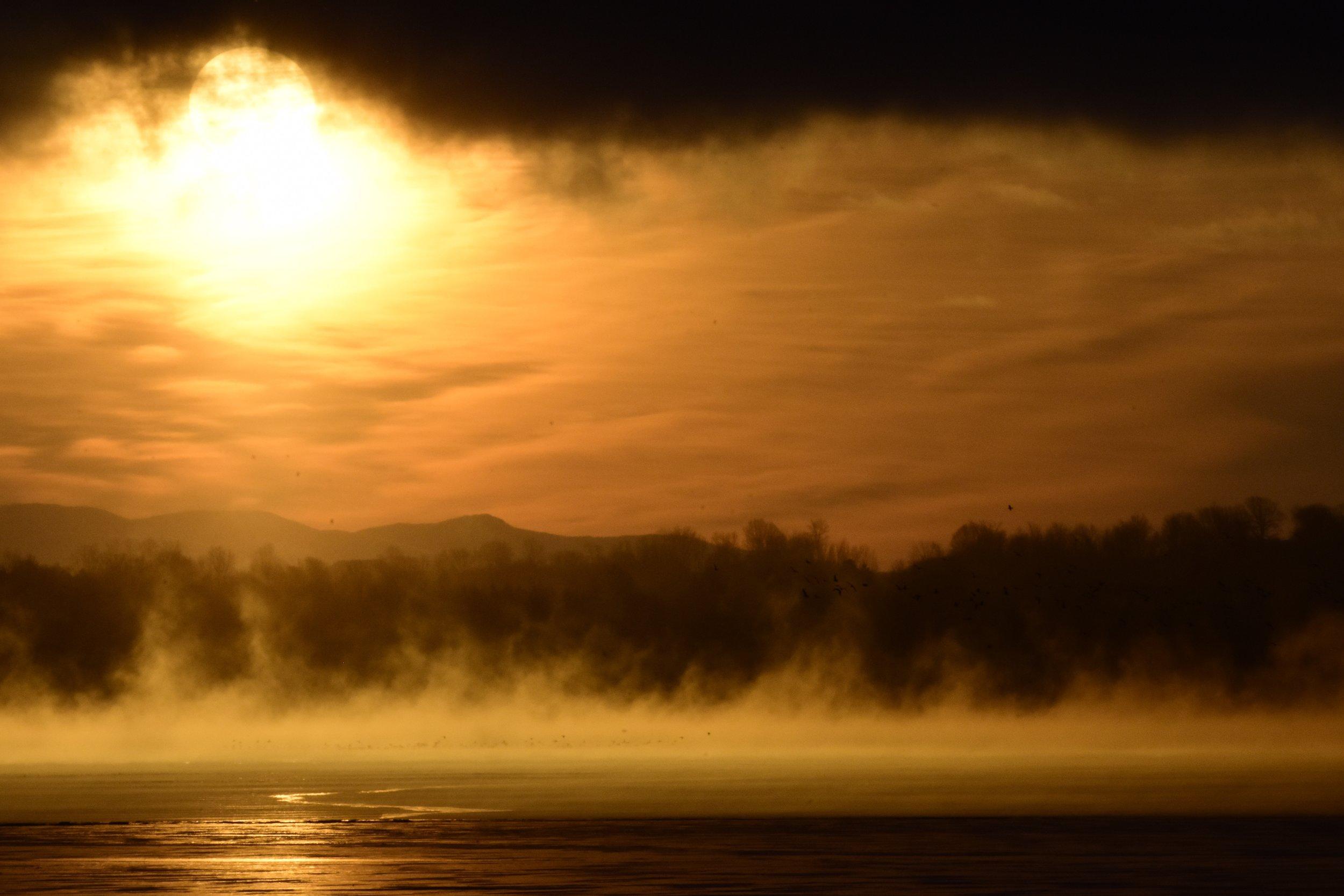Steam over Lake Champlain at Sunrise