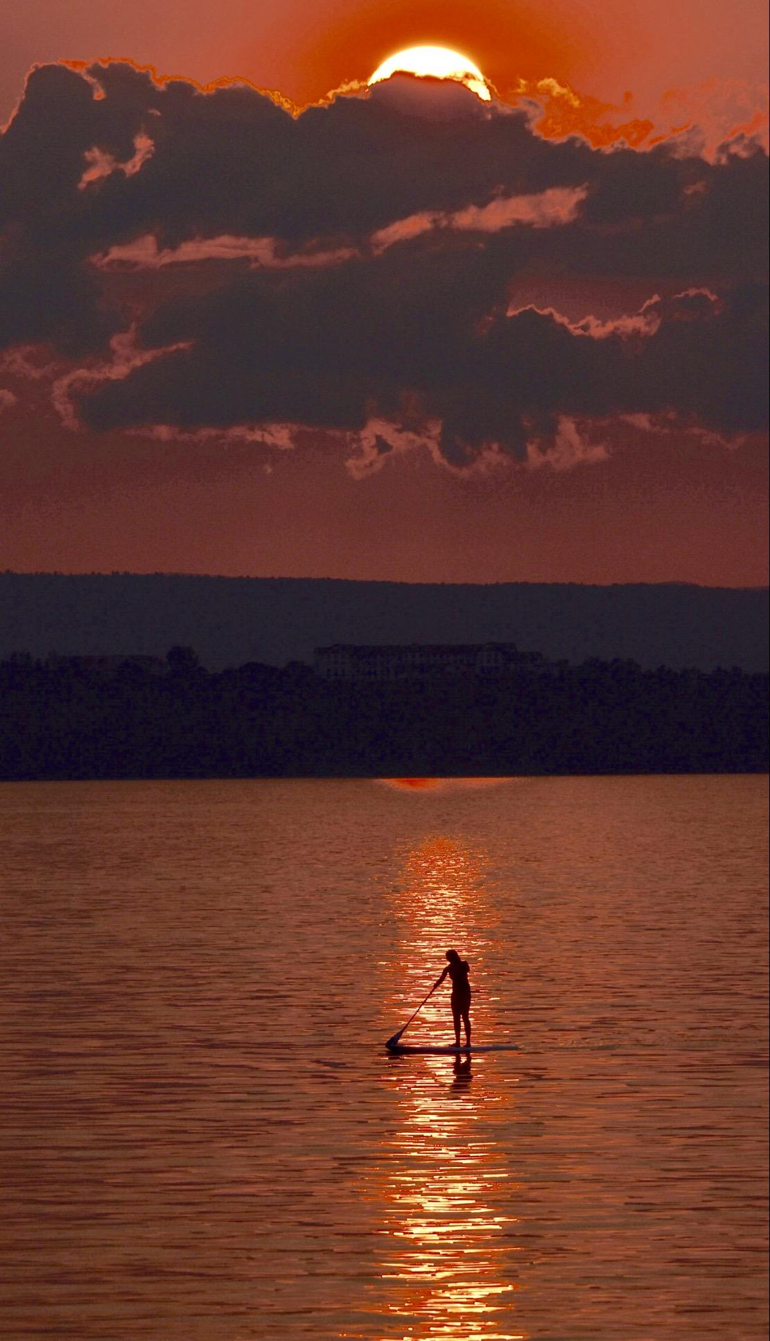 Paddleboarder on Lake Champlain at Sunset_3