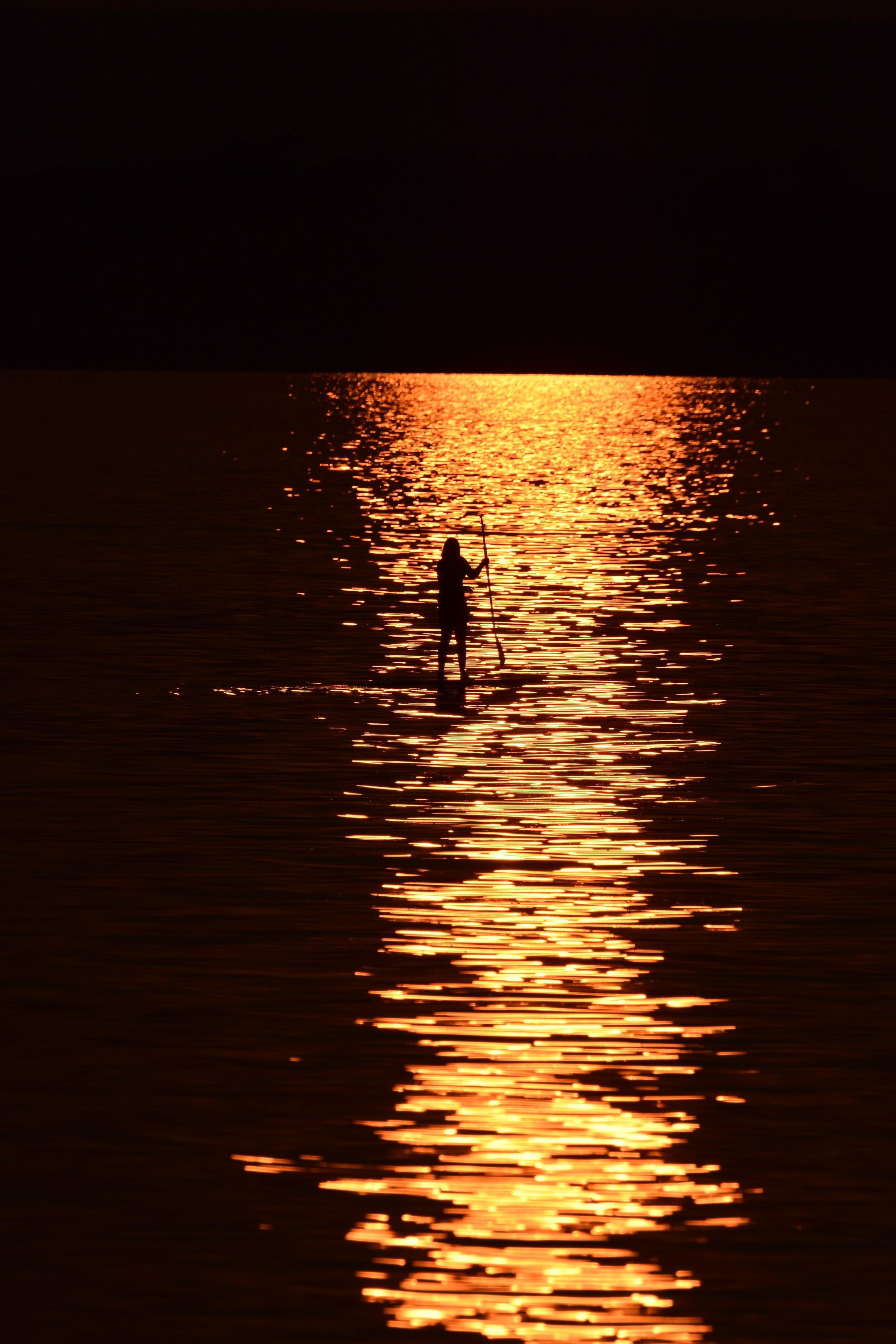 Paddleboarder on Lake Champlain at Sunset_2