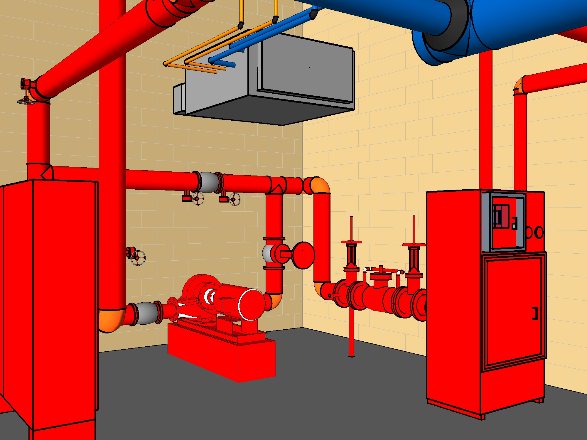 The above image is an example of a fire sprinkler CAD concept.