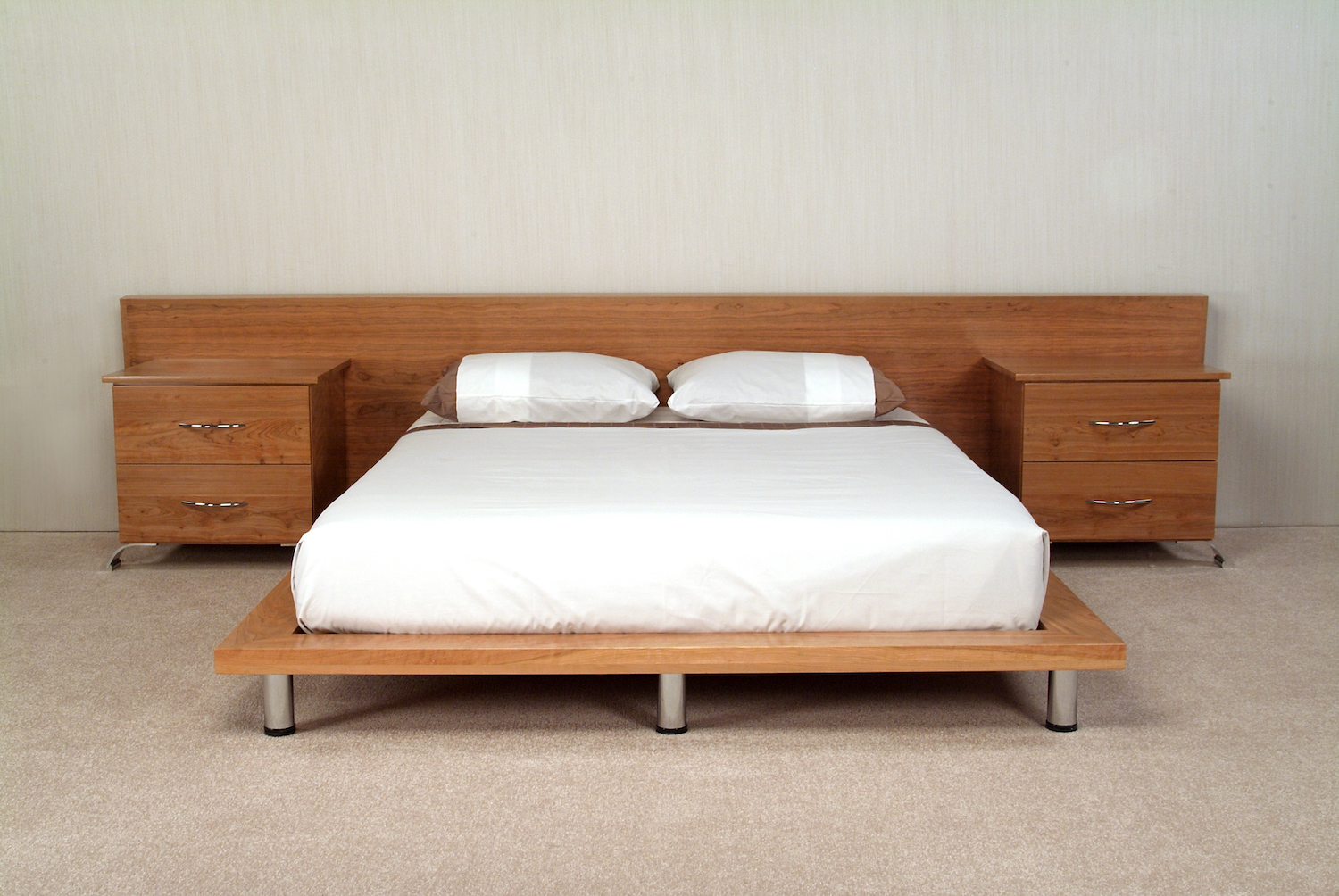Cherry Platfrom Bed with Chrome Legs. Headboard and Two Nightstands with Granite Inserts.
