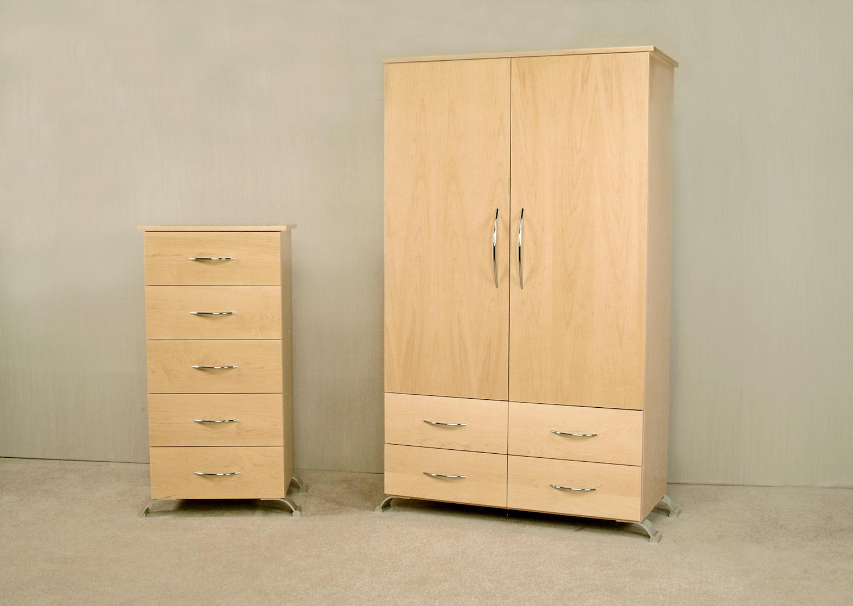 Maple Bedroom Set: Solid Maple Wardrobe. Five Drawer Lingerie Chest.
