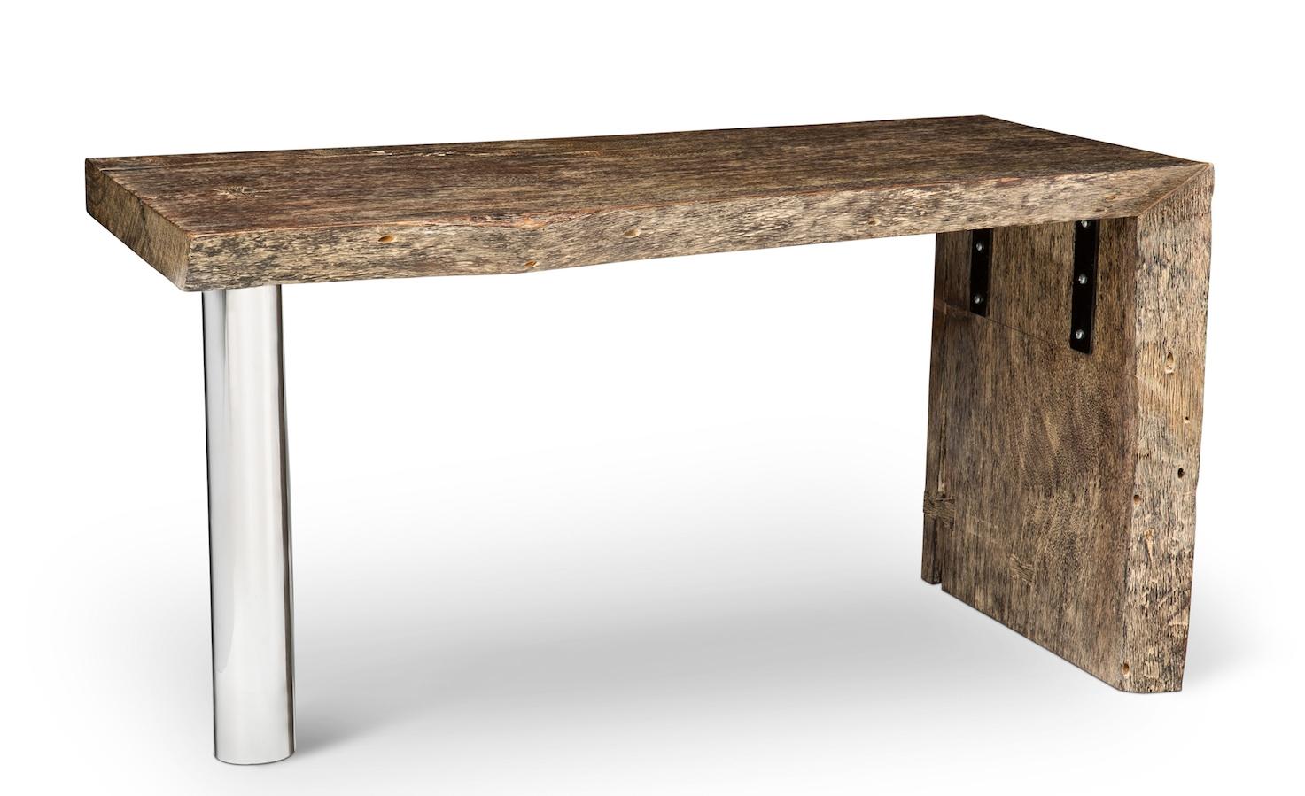 "24"" x 54"" Solid Elm Desk with Chrome Column."