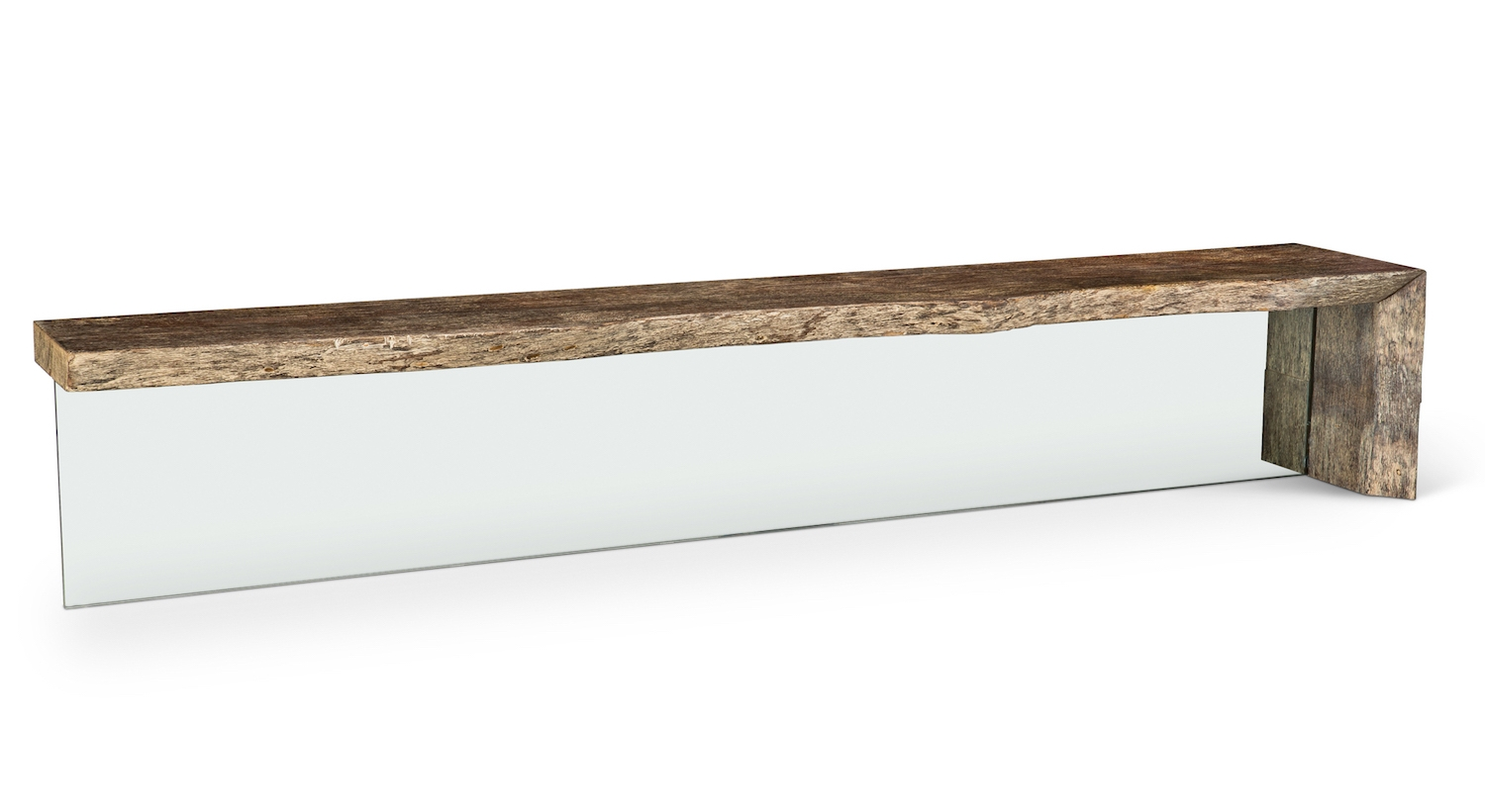 """18"""" x 108"""" Solid Elm Bench with 3/4"""" Glass Leg."""