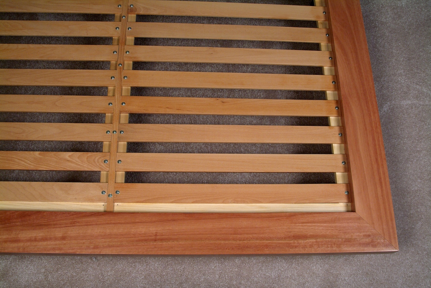 Detail Image of Platform Bed with Beech Slats.