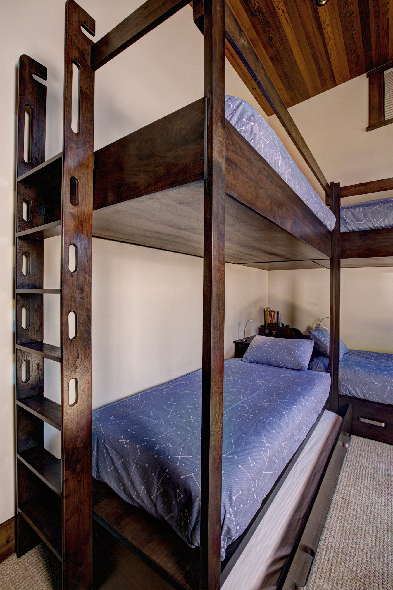 Detail Image of Built-in Walnut Bunk Beds with Trundle.