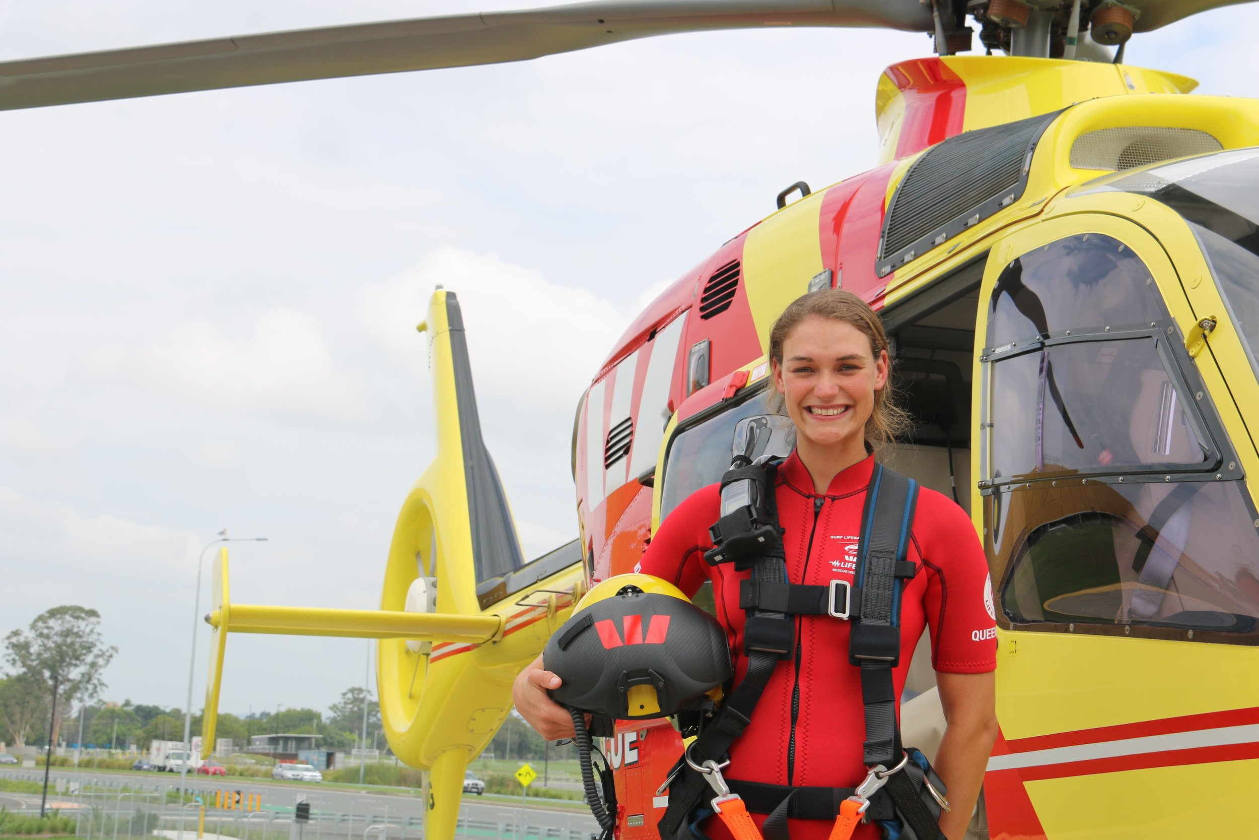 Jumping from a  chopper  to save lives is not a job for the faint hearted but Tallebudgera SLSC patrolling member and open female boat crew competitor Nikki Wood takes it in her stride. Nikki a Medical student is one of three new  Westpac  Lifesaver  Helicopter  Service recruits in three years.